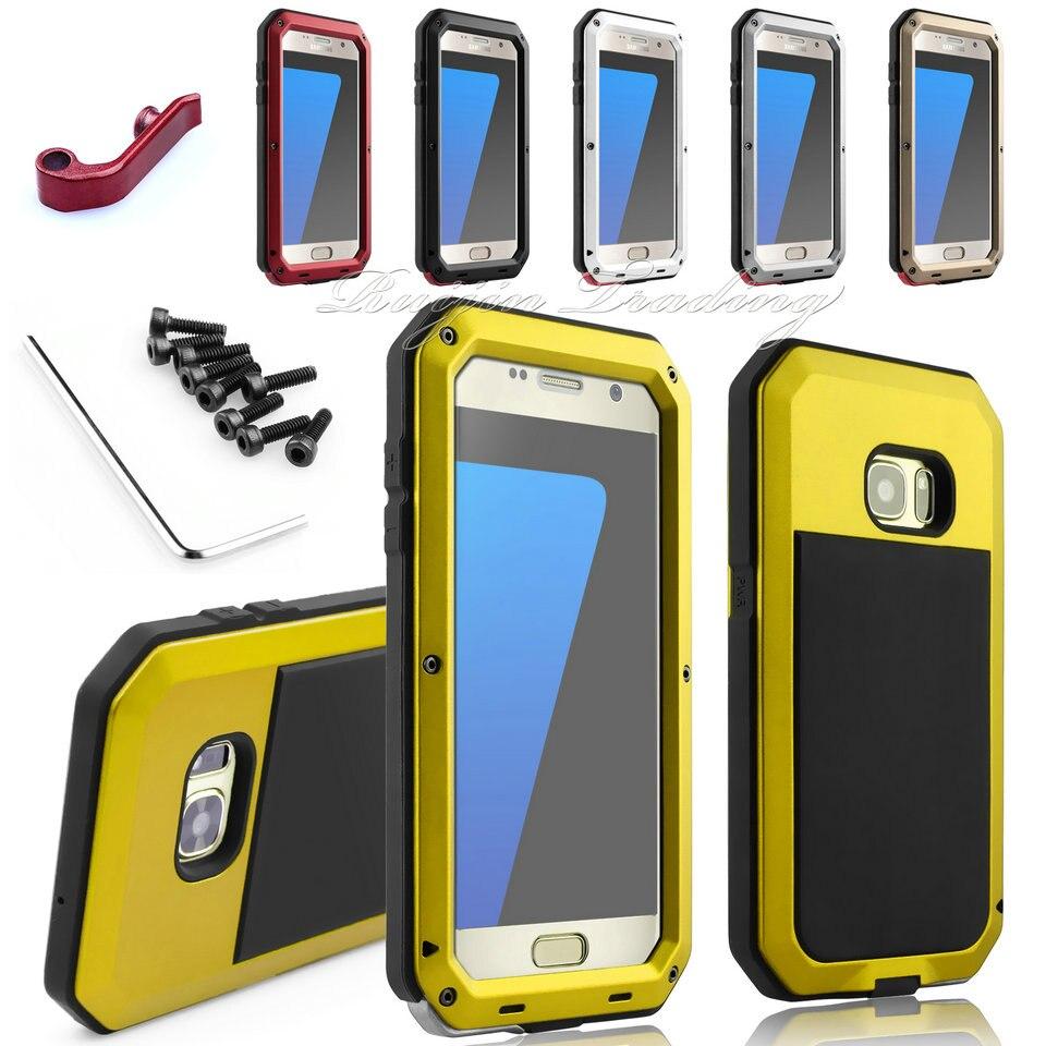 Цена за Телефон Чехол Для Samsung Galaxy S4 S5 S6 S7 края Примечание 4 5 Противоударный Водонепроницаемый IPX3 Мощность Алюминий Gorilla Glass Защита Крышки