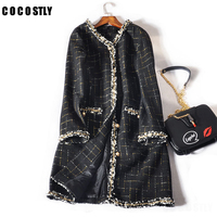 Winter Coat Women Long Sleeve Tweed Plaid Jacket Abrigos Mujer Invierno Autumn Wool Coat Manteau Femme Hiver