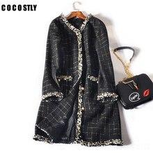Winter Coat Women Long Sleeve Tweed Plaid Jacket Abrigos Mujer Invierno Autumn Wool Coat Manteau Femme Hiver