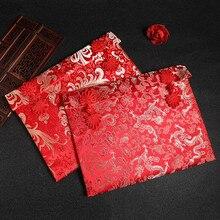 Большой размер сто тысяч долларов Свадебные деньги Изысканная парча Вышивка Красный Конверт Конверты новогодний красный карман