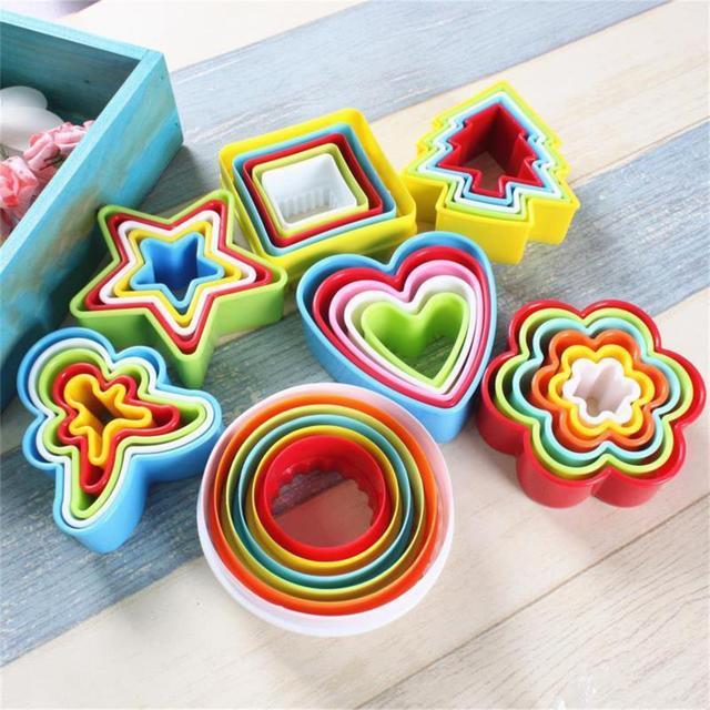 5 piezas redondas varios moldes Fondant pastel galleta para hornear galletas cortador de émbolo decoración árbol de Navidad grado alimenticio ABS