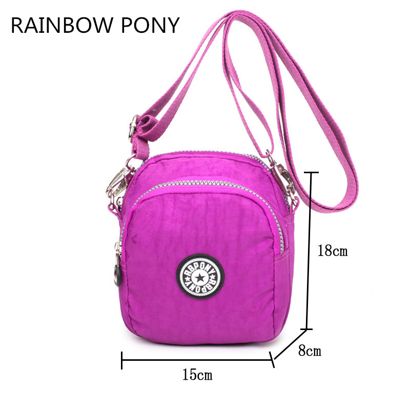RAINBOW PONY 2017 New Style Women Nylon Bag Small Portable Fashion Shoulder Bag Messenger Bags Girl Casual Crossbody Bag CH011 women handbag shoulder bag messenger bag casual colorful canvas crossbody bags for girl student waterproof nylon laptop tote