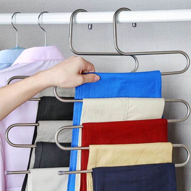 Trousers Hanger Magic Pants Clothes Closet Belt Holder Rack Bathroom Room  Kitchen Shelf Organizer And Storage