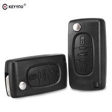 KEYYOU-funda plegable con tapa para llave remota de coche, cubierta con 3 botones y hoja HU83/VA2 para Peugeot 207, 208, 307, 308, 408
