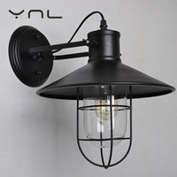 Retro Wall Lamp Glass E27 Lamp Industrial IronWall Light Bulb Sconce Decals Mural Lighthouse Restaurant Corridor Bar Available