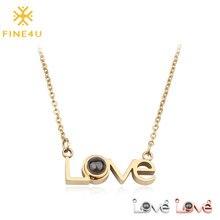 FINE4U N156 miłość pamięci ślub naszyjnik 100 języków kocham cię projekcja naszyjnik ze stali nierdzewnej stalowe długie łańcuchy
