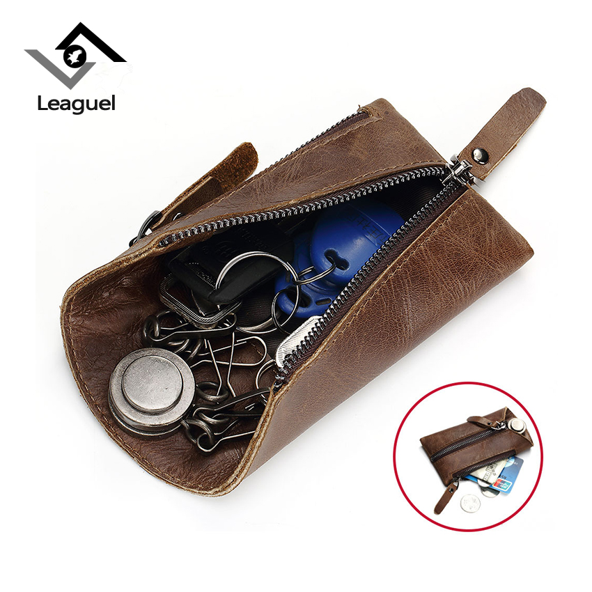 Leaguel Genuine Leather Key Wallet Smart Car Bag Housekeeper Pouch Ring Wrap Case Man Storage With Card Holder Keychain