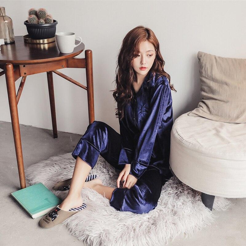 fashion Long Sleeve Gold Velvet Pajamas Set Winter Women Warm Pajama Sets Plus Size Sleepwear Pyjama 3XL 4XL 5XL Nightwear Set 18