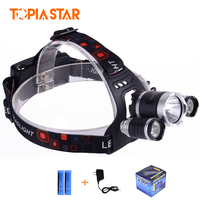 TOPIA STAR Rechargeable Bright 4 Modes Headlight Headlamp 20W Powerful Head Lamp With 18650 Li Ion