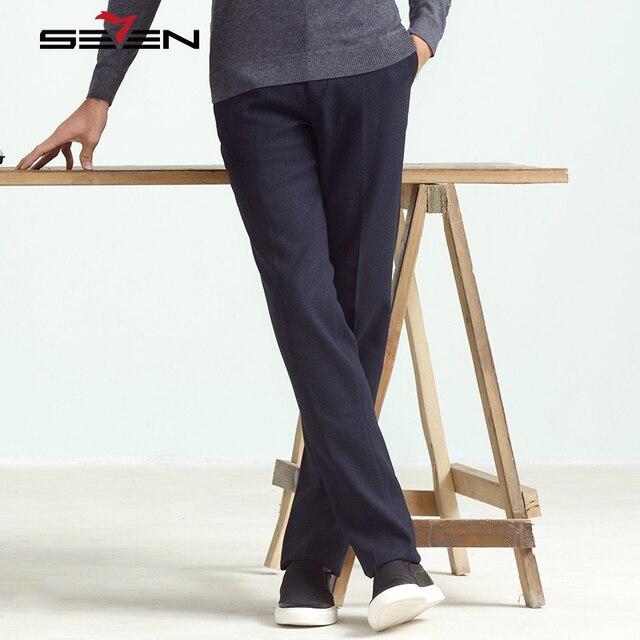 Seven7 Фирменная Новинка Высокое качество Брюки Для мужчин модные хлопковые Бизнес Мотобрюки Мужская Удобная Формальные Люкс Брюки для девочек 111b70100