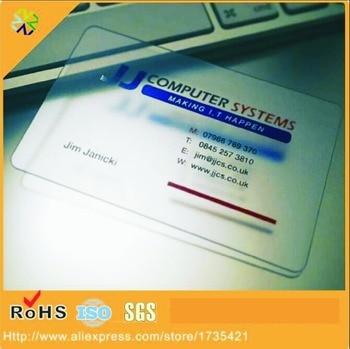 2017 Hot sale Custom printing CR80 clear transparent PVC business visit card