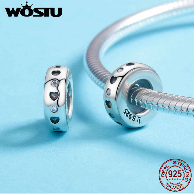 WOSTU Real 925 เงินสเตอร์ลิง 15 รูปแบบหัวใจและเคลียร์ CZ Spacer ลูกปัด Fit Wostu Original Charm สร้อยข้อมือเครื่องประดับ CQC593