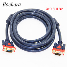 Bochara VGA Cable Male to Male 3+9 HD Fully Wired 15PIN For LCD CRT PROJECTOR PC Laptop Monitor 1.5m 3m 5m 10m 15m 20m