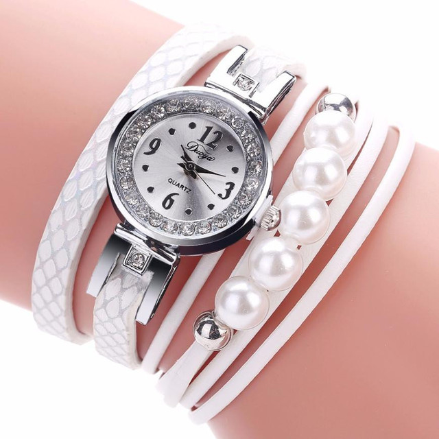 Duoya Women Watches Leather Band Faux Pearl Quartz Wrist Watch Ladies Female Clo