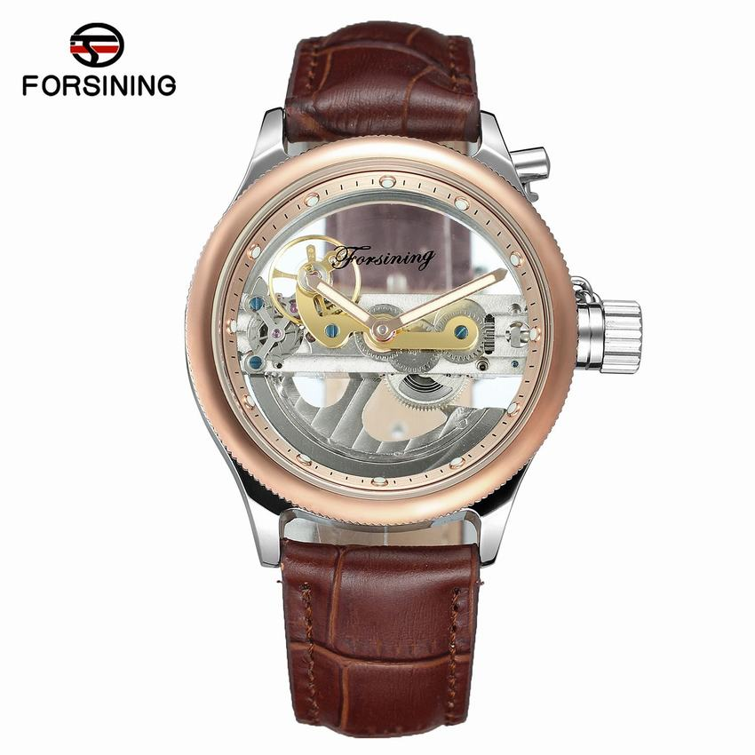 Forsining 2017 Minimalism Design Silver Steel Waterproof Steampunk Wrist Watch Mens Automatic Skeleton Watches Top Brand Luxury forsining 3d skeleton twisting design golden movement inside transparent case mens watches top brand luxury automatic watches