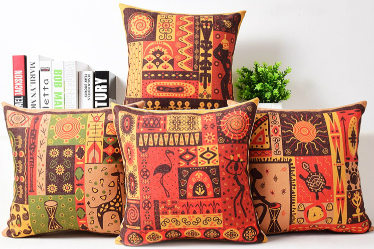 Vintage African Tribe Totem Animal Cushion Cover Linen Decorative Throw Pillows Case 18 Crane Giraffe Turtle Flowers Home Decor In From