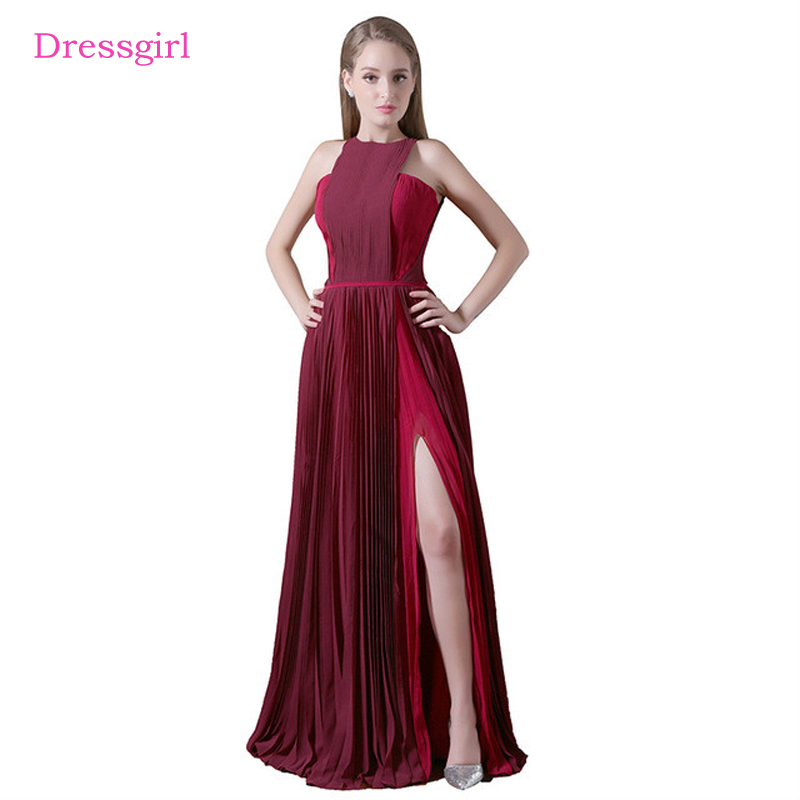 Burgundy 2019 Celebrity Dresses A line High Collar Chiffon Slit Backless Sexy Long Evening Dresses Red Carpet Dresses