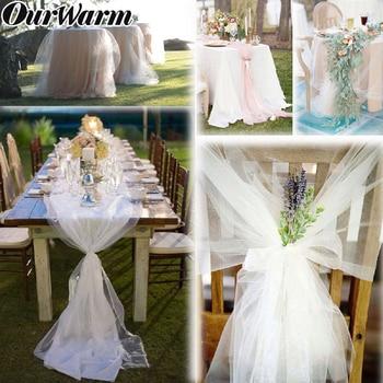 OurWarm 100yards White Organza Fabric Yarn Tulle Roll Sheer Birthday Wedding Party Table Handrail Chair Backdrop DIY Decoration