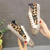 2018 Spring Autumn Leopard Star Woman Sneakers Women Vulcanize Shoes Tenis Feminino Casual Female Shoes Woman Suede Lace up Shoe