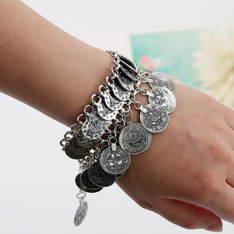 Bohemian Antalya Carved Coin Tassel Statement Bracelet Silver Gypsy Boho Coachella Festival Turkish Tribal Ethnic Jewelry 6Pcs