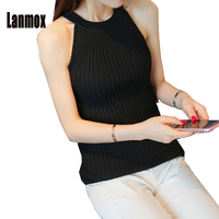 Lanmox Fashion Women Knit Vest Halter Camis Tank Top Sleeveless Sweater Female Sexy Clothing Pullover Girls Soft Knited Tops