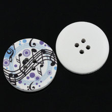 20Pcs Multicolor Musical Note Pattern Round Wood Sewing Buttons 4 Holes Ornaments Scrapbook Making 3cm Dia.(1 1/8)