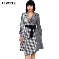 af017cadf9f UIZVTIK Vintage Casual Classic Black White Plaid Suit Collar Office Autumn  Dress For Women 2019 Elegant