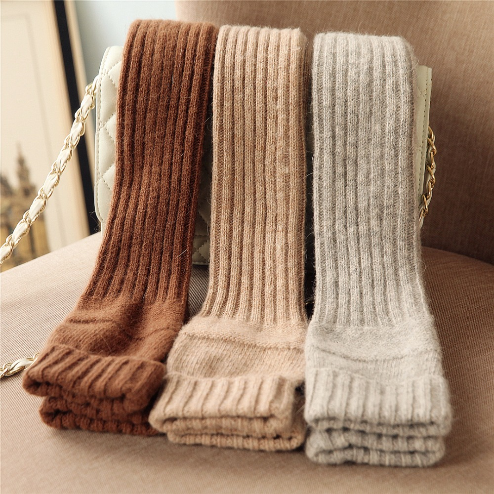 2019 Autumn Winter Women Knitted Wool Gloves Elegant Sweet Lady Fingerless Mittens Thermal Half Finger Long Arm Warmers T221