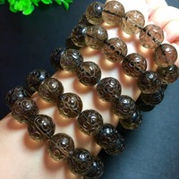 Genuine Natural Brown Quartz Smoky Crystal Quartz 16mm Round Craved Beads Healing Stone Only One Bracelet Drop Shipping AAAAA