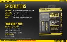 100% Original Nitecore D2 Digicharger Pantalla LCD Nitecore Cargador Cargador de Batería para 26650 18650 18350 16340 14500 10440