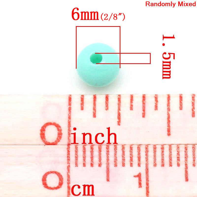 Doreenbeadsパステルアクリルカラフルなビーズラウンドランダムdiyの意思ファッションについて 6 ミリメートル径、穴: 約 1.5 ミリメートル、 150 個