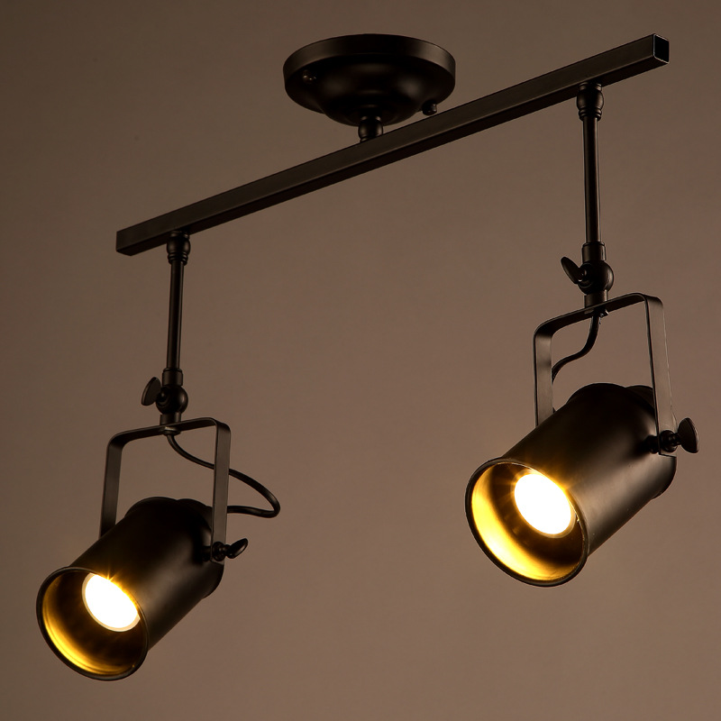 modern industrial led ceiling lamp bars clothing store 2 head long rod creative track lighting. Black Bedroom Furniture Sets. Home Design Ideas
