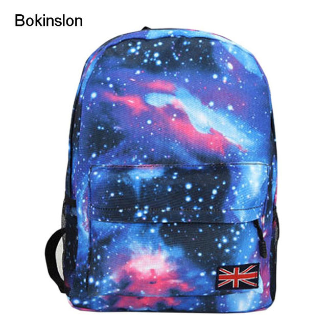 Bokinslon Fashion Backpack Woman's Schools Bag Unisex Men's Bag Stars Universe Space Printing Canvas Female Backpacks