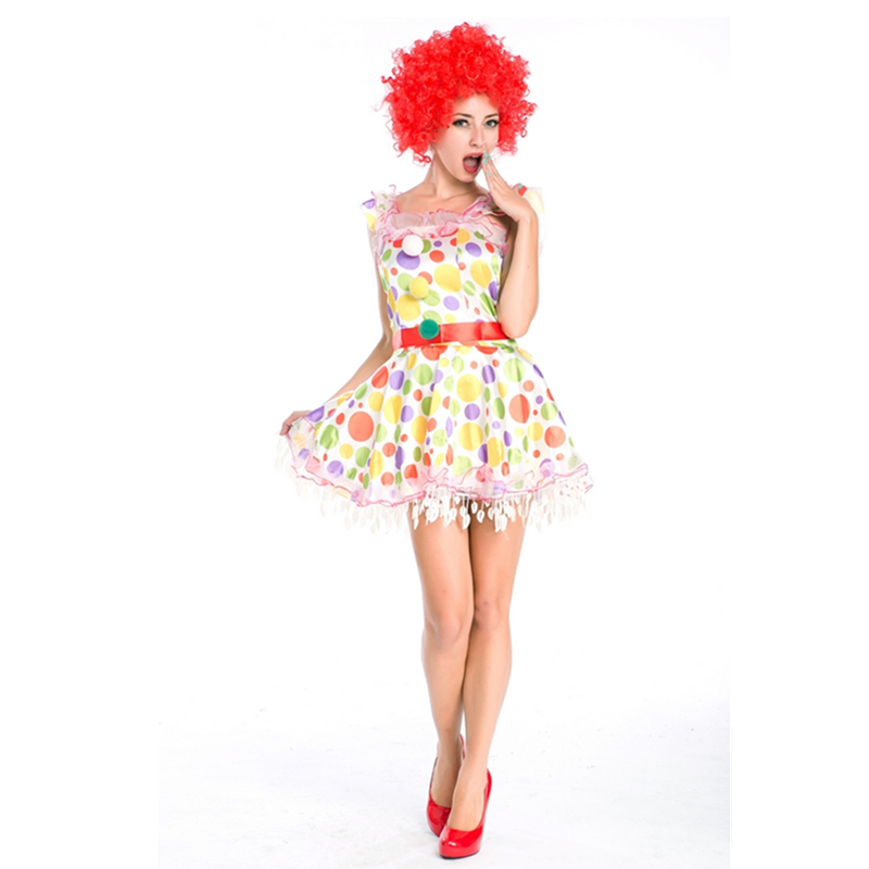 New Arrival  Stylish Women Circus Clown Costumes Adult Carnival Party Fancy Dress