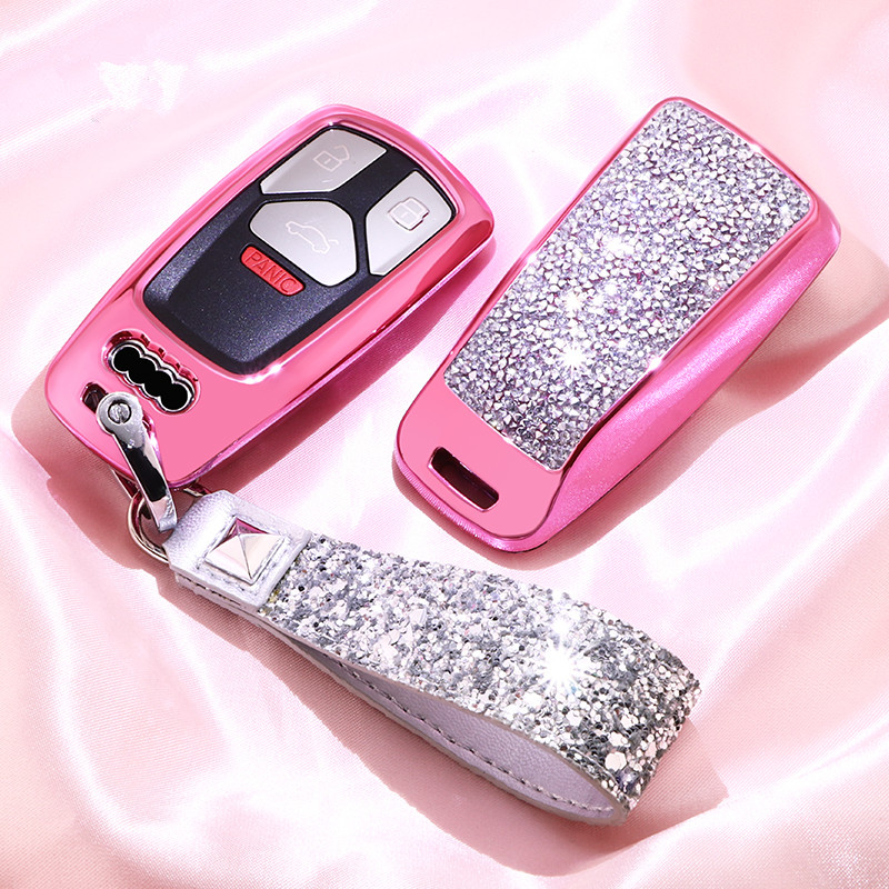 Image 2 - Diamond Car Key Cover Case For AUDI A4 B9 Q5 Q7 TT TTS 8S 2016 2017 Chain Keyring for Girls Women Gifts Artificial crystal-in Key Case for Car from Automobiles & Motorcycles