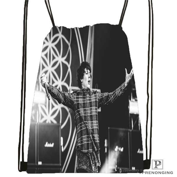 Custom Bring_me_the_horizon_ Drawstring Backpack Bag Cute Daypack Kids Satchel (Black Back) 31x40cm#180611-01-28