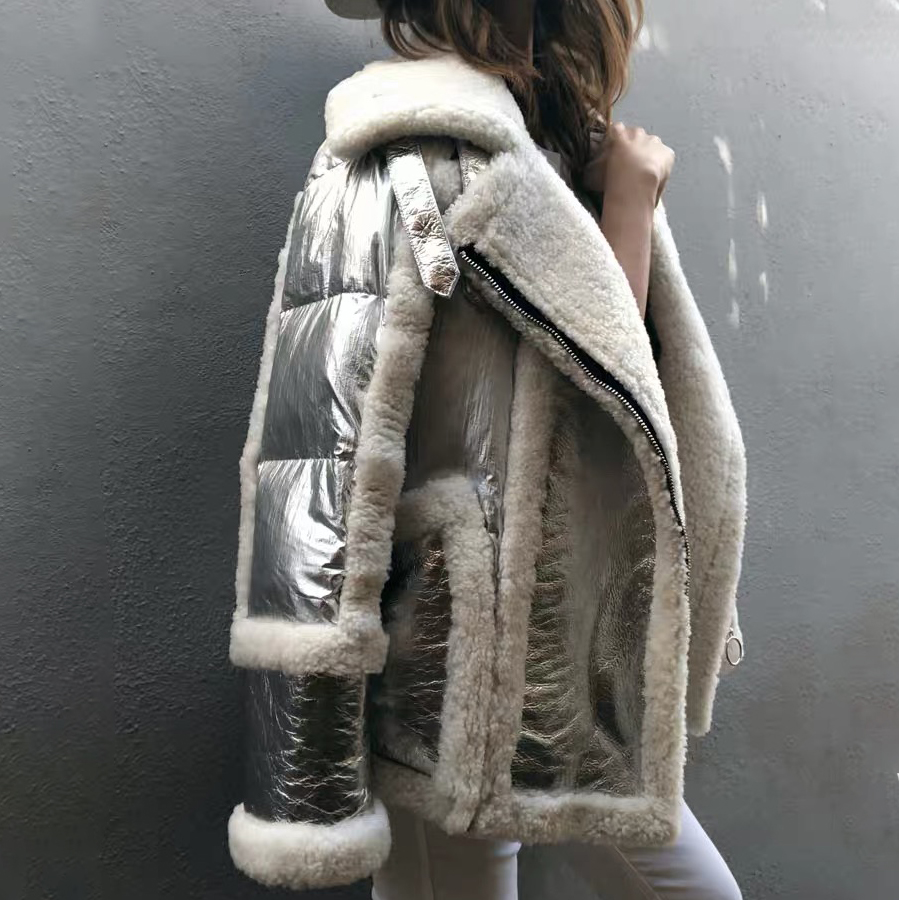 2019 new winter coat women real fur coat sliver Genuine Leather Sheep Double-faced Fur jacket white duck down Motorcycle jacket