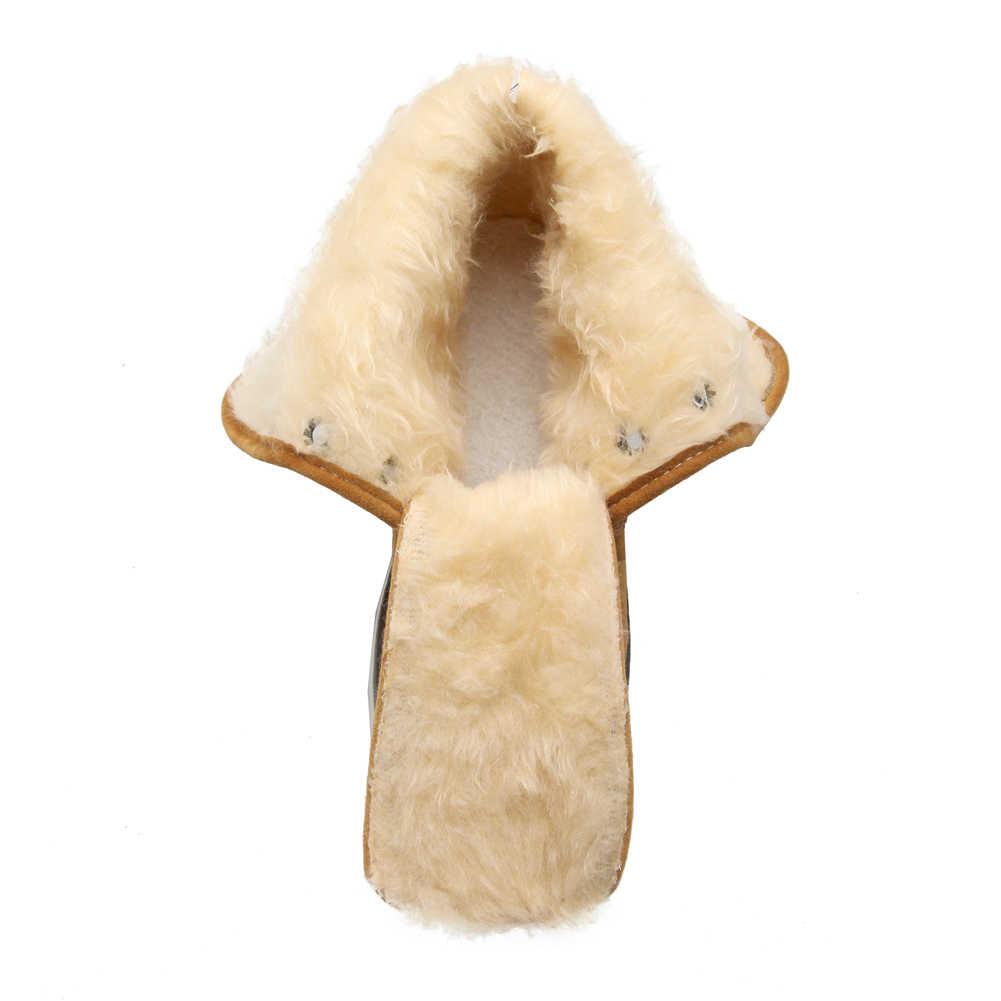 BONJOMARISA 2020 kış kaymaz Platform ayak bileği kar botları kadın 34-43 sıcak ekleyin kürk patik dantel up konfor takozlar ayakkabı kadın