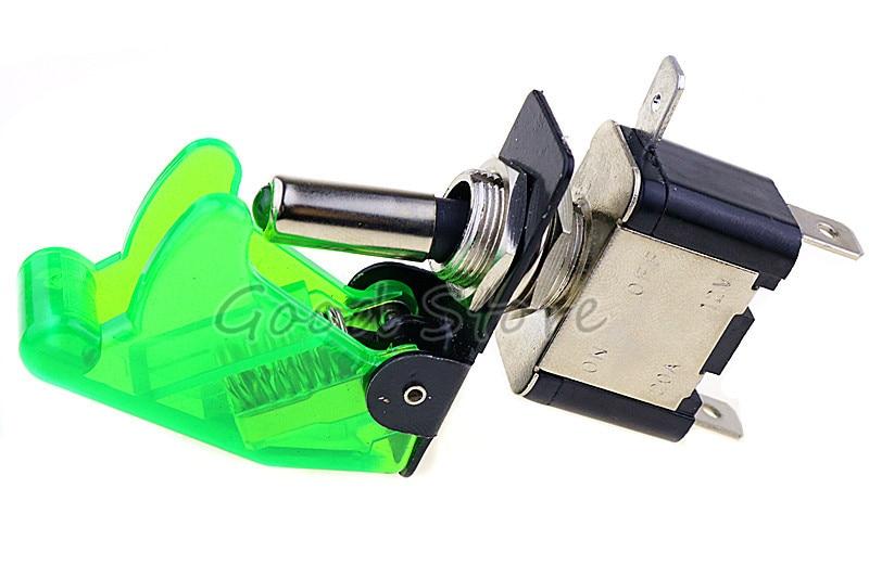 Авто автомобиль Лодка Грузовик с подсветкой светодиодный тумблер с безопасности самолета Флип-крышка охранника Красный Синий Зеленый Желтый Белый 12V20A - Цвет: transparent green