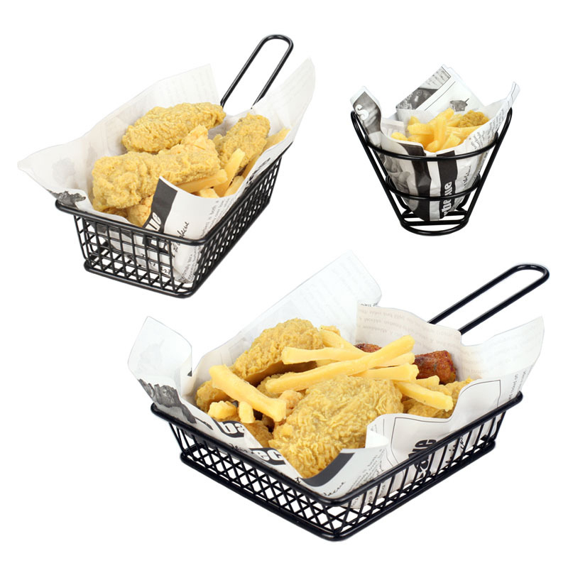 French Fries Basket Kitchenware Fast Food Tray Multifunction Fries Food Tools Fries Chicken Snack Shelf Baskets Stainless Steel|Dinnerware Sets| |  - title=