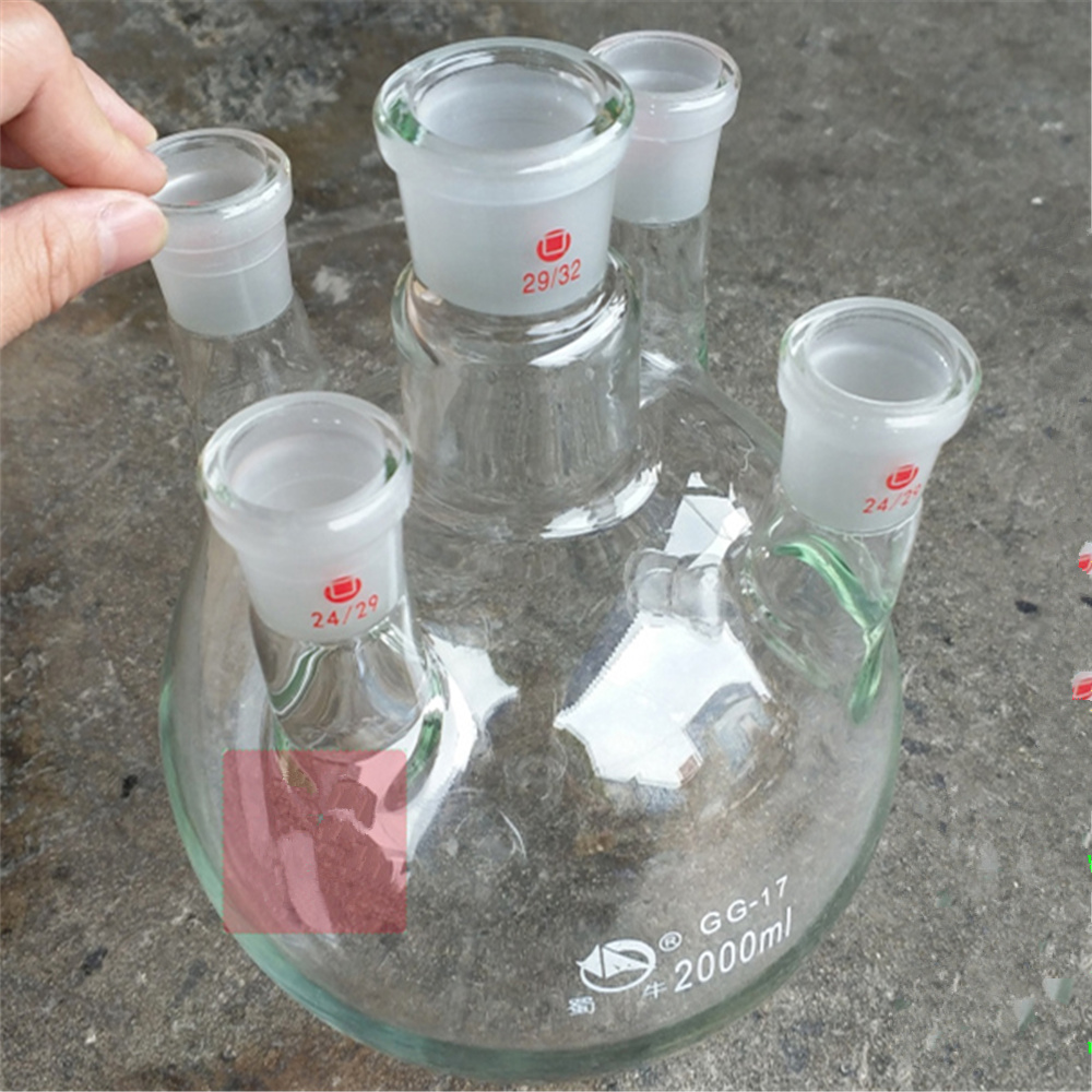 2000ml,24/29*5,5-neck,Round bottom Glass flask,Lab Boiling Flasks,five neck laboratory glassware reactor free shipping 100ml boiling flask 19 joint flat bottom lab glassware