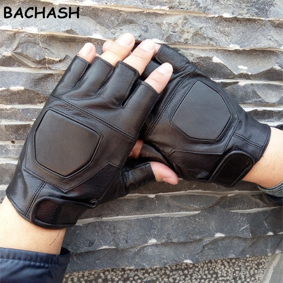BACHASH 100% Goat Leather High Quality Hand Pads Black Gloves Non-slip With Wrist Exercise Solid Gloves Dumbbells
