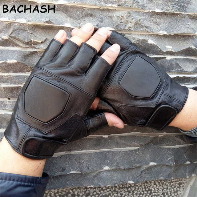 76325a4b5def BACHASH 100% Goat Leather High Quality Hand Pads Black Gloves Non-slip With  Wrist Exercise Solid Gloves Dumbbells