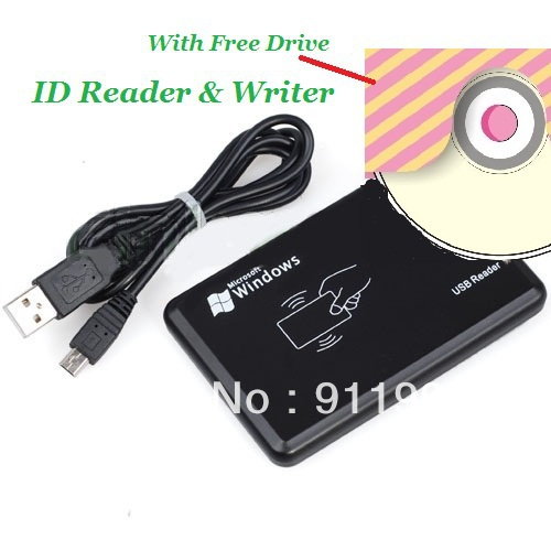 10pcs USB em4100 125khz RFID Reader & Writer ID card Copier duplicate copier & 10pcs free rewritable tag And Free Software