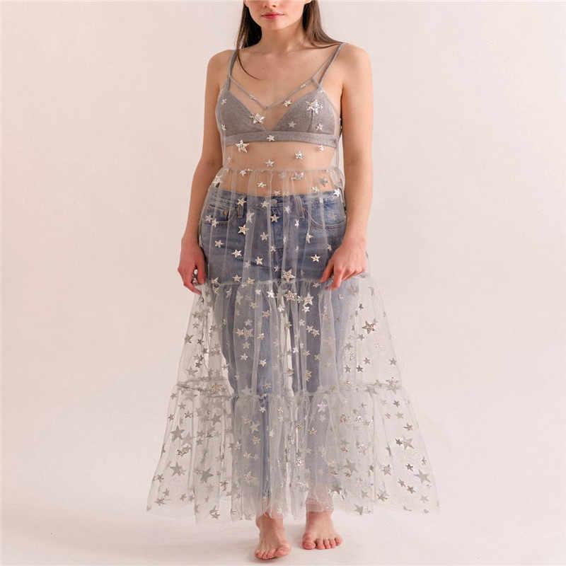 Dulce mujer niñas Vestido largo de malla transparente estampado de estrellas Bikini cubrir sin mangas Strappy v-cuello vestido de señora vestido largo transparente