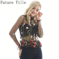 Sexy Floral Embrodiery Blouse Women Mesh Shirts Transparent Long Sleeve Stand Collar Pullover Shirt Ruffles Hem