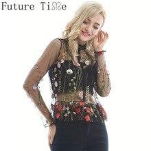 Sexy цветочные Вышивка блузка Для женщин сетки прозрачная рубашка с длинным рукавом и стоячим воротником пуловер рубашка оборками Леди Блузка Топ SC066