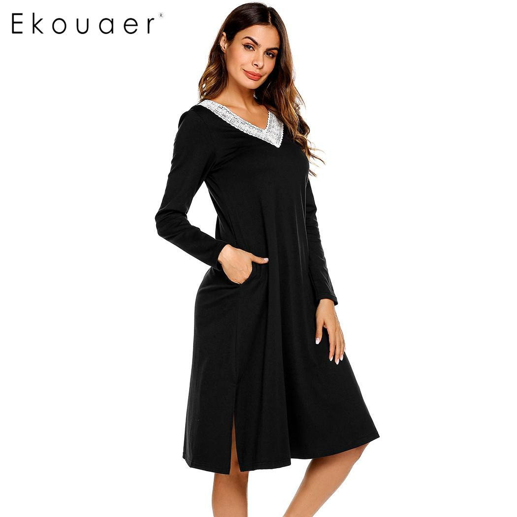 Image 5 - Ekouaer Nightgowns Sleepshirts Long Sleeve Sleepwear Casual Women Lace V Neck Loose Long Nightdress Nightgown Home Dress Autumn-in Nightgowns & Sleepshirts from Underwear & Sleepwears