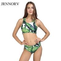 JRNNORV High Neck Bikini Set Women Swimwear Push Up Swimsuit Biquini Beach Green Leaf Brazilian Bikinis