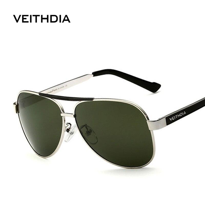 Veithdia com caso original polarizado óculos de sol dos homens marca designer uv 400 lente gafas óculos de sol masculino 3152